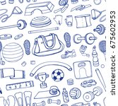 sport equipment.hand drawn... | Shutterstock .eps vector #675602953