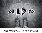 play stop and rewind icons on... | Shutterstock . vector #675619933