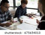group of people brainstorming... | Shutterstock . vector #675654013