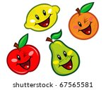 happy fruits characters | Shutterstock .eps vector #67565581