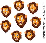 cartoon lion head with various... | Shutterstock .eps vector #675662347
