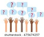 raising hands and asking...   Shutterstock .eps vector #675674257