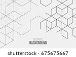 Vector abstract boxes background. Modern technology illustration with square mesh. Digital geometric abstraction with lines and points. Cube cell. | Shutterstock vector #675675667