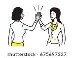 businesswoman giving high five... | Shutterstock .eps vector #675697327