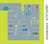 parking scheme or plan with car ... | Shutterstock .eps vector #675712987