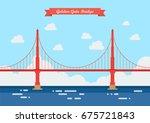 golden gate bridge in flat... | Shutterstock .eps vector #675721843