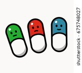 green  red and blue pills... | Shutterstock .eps vector #675748027