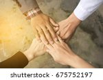 business handshake and business ... | Shutterstock . vector #675752197