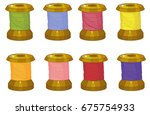 spools of threads  multicolored ... | Shutterstock .eps vector #675754933