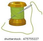 spool of threads  needle ... | Shutterstock .eps vector #675755227
