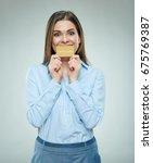 happy bank employee woman... | Shutterstock . vector #675769387