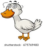 duck with dizzy face on white... | Shutterstock .eps vector #675769483