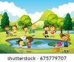 children having fun in the park ... | Shutterstock .eps vector #675779707
