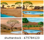 four savanna scenes at... | Shutterstock .eps vector #675784123