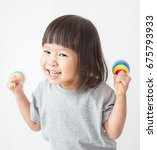 little cute asian girl playing... | Shutterstock . vector #675793933