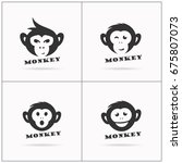 monkey vector design icon.... | Shutterstock .eps vector #675807073