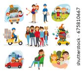 set of happy family  people ... | Shutterstock .eps vector #675810667