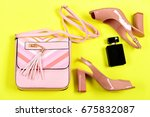 handbag and female footwear...   Shutterstock . vector #675832087