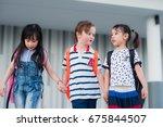 group of preschool enjoy and...   Shutterstock . vector #675844507