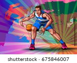 active young player playing... | Shutterstock .eps vector #675846007