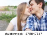 blurred couple making selfie at ... | Shutterstock . vector #675847867
