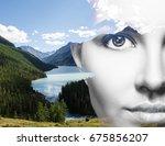 double exposure of young...   Shutterstock . vector #675856207