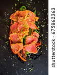 raw red tuna course  tataki ...   Shutterstock . vector #675862363