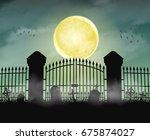 Silhouette Cemetery Graveyard...