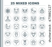 zoology icons set. collection... | Shutterstock .eps vector #675882127