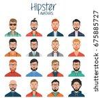 set of hipster avatars. avatar... | Shutterstock .eps vector #675885727