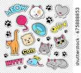 funny cats doodle with stickers ... | Shutterstock .eps vector #675888853