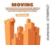 moving with boxes. transport... | Shutterstock .eps vector #675889027