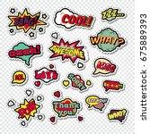 pop art comic speech bubbles... | Shutterstock .eps vector #675889393