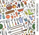 autumn garden harvest  seamless ... | Shutterstock . vector #675892243