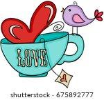 love tea cup and cute bird  | Shutterstock .eps vector #675892777
