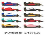 set of formula 1  one  racing... | Shutterstock .eps vector #675894103