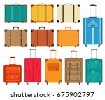 set of suitcases icons in flat... | Shutterstock .eps vector #675902797