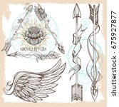 arrows and wings. a set of... | Shutterstock .eps vector #675927877