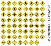 set of road sign icons | Shutterstock .eps vector #675932407