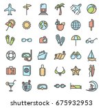 summer vacation outline colored ... | Shutterstock .eps vector #675932953