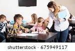 little children with their... | Shutterstock . vector #675949117