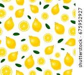 pattern of seamless lemon on a... | Shutterstock .eps vector #675952927