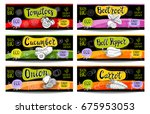 set of colorful labels in... | Shutterstock .eps vector #675953053