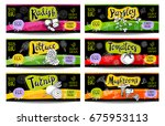 set of colorful labels in... | Shutterstock .eps vector #675953113