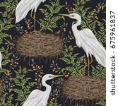 seamless pattern with heron...