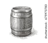 wood barrel. hand drawn... | Shutterstock .eps vector #675973783