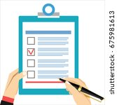 man hand filling form. hand... | Shutterstock . vector #675981613