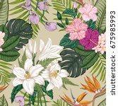 seamless pattern with tropica...