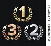 trophy award set vector.... | Shutterstock .eps vector #675989437