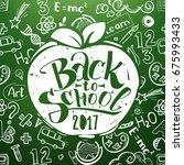 back to school chalkboard with... | Shutterstock .eps vector #675993433